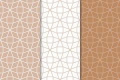 Ensemble d'ornements géométriques Brown et modèles sans couture blancs Photographie stock