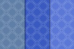Ensemble d'ornements géométriques Modèles sans couture bleus Image stock