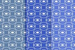 Ensemble d'ornements géométriques Modèles sans couture bleus Images libres de droits