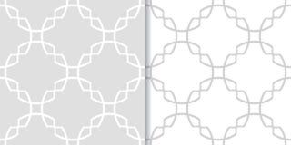 Ensemble d'ornements géométriques Modèles sans couture gris-clair Image stock