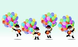 Ensemble d'ours panda de bande dessinée avec des ballons et des cadeaux d'anniversaire Fond d'anniversaire illustration stock
