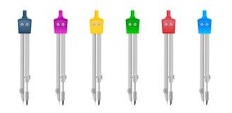 Ensemble d'outils de boussole, couleur variable illustration de vecteur