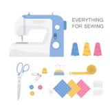 Ensemble d'outils de couture Images stock
