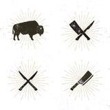 Ensemble d'outils de grill, de boucher et de viande - les couteaux de découpage croisés pour, la coupe, bison avec le soleil écla illustration stock