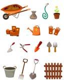 ensemble d'outils de jardin sur le blanc Images libres de droits