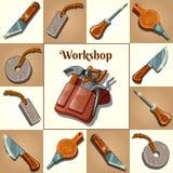 Ensemble d'outils, de perforation et d'instruments de coupe illustration de vecteur