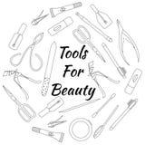 Ensemble d'outils pour la manucure Illustration de vecteur Photo stock