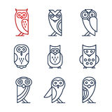 Ensemble d'Owl Design Elements dans le style linéaire Photo stock