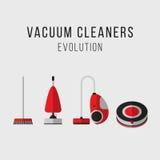 Ensemble d'équipement de nettoyage Évolution d'aspirateurs graphismes Style plat Photos libres de droits