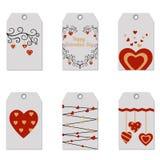 Ensemble d'étiquettes heureuses de cadeau de Saint-Valentin Images stock