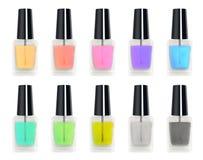 Ensemble d'une bouteille en verre de vrai polisseur coloré du clou 3d Images libres de droits