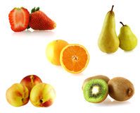 Ensemble d'uns d'isolement sur les fruites blancs Photo stock