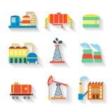 Ensemble d'usine industrielle de vecteur coloré Photo stock
