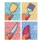Ensemble d'ustensiles de cuisine Image stock