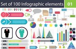 Ensemble de 100 éléments infographic, paquet d'icône, diagrammes, graphiques, colorés, pourcentage, économie, statistiques, prête Images stock