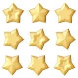 Ensemble de 3 étoiles d'or Différents angles Images stock