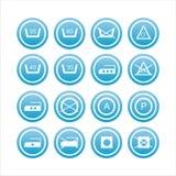 Ensemble de 16 signes de blanchisserie Illustration de Vecteur