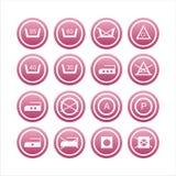 Ensemble de 16 signes de blanchisserie Illustration Libre de Droits