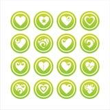 Ensemble de 16 signes de coeurs Illustration de Vecteur