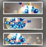 Ensemble de 3 drapeaux de signet de vecteur. Photographie stock