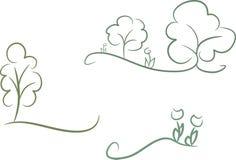 Ensemble de 3 graphismes de nature Photo libre de droits