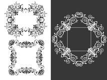 Ensemble de 3 trames décoratives de cru illustration libre de droits