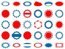 Ensemble de 30 étiquettes bleues et de rouge Image stock