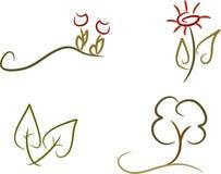 Ensemble de 4 graphismes de nature Images libres de droits