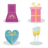 ensemble de 4 graphismes du jour de valentine Illustration Libre de Droits