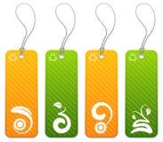 Ensemble de 4 verts et d'étiquettes oranges illustration de vecteur