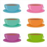Ensemble de 6 graphismes colorés de cuvettes Illustration Stock
