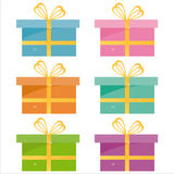 Ensemble de 6 graphismes de cadeaux Illustration de Vecteur