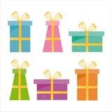 Ensemble de 6 graphismes de cadeaux Image stock