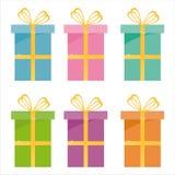 Ensemble de 6 graphismes de cadeaux Photographie stock libre de droits