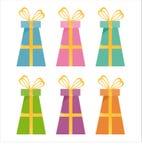 Ensemble de 6 graphismes de cadeaux Illustration Stock