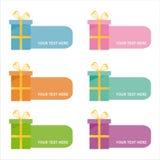 Ensemble de 6 trames colorées de cadeaux Images libres de droits