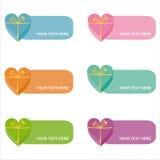 Ensemble de 6 trames colorées de cadeaux Images stock