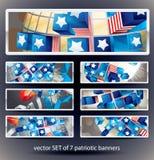 Ensemble de 7 drapeaux de signet de vecteur. Image libre de droits
