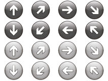 Ensemble de 8 boutons de flèche Images stock