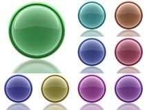 Ensemble de 9 boutons d'aqua avec la réflexion de la lumière Photos libres de droits