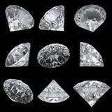 Ensemble de 9 diamants avec le chemin de découpage Photographie stock libre de droits