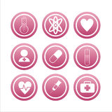 Ensemble de 9 signes médicaux Photos stock