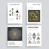 Ensemble de 80 affiches géométriques abstraites du ` s avec des formes simples et de rétros couleurs Image stock