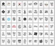 Ensemble de 60 affiches de lettrage de main, citations de positif et de vacances Photo stock