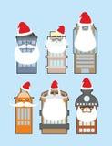 Ensemble de bâtiments avec la barbe et la moustache Santa Claus décorer Photographie stock libre de droits