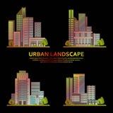 Ensemble de bâtiments de ville dans un vecteur Gratte-ciel modernes, centres d'affaires illustration libre de droits