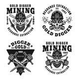 Ensemble de bêcheur d'or de quatre emblèmes monochromes de vecteur illustration stock