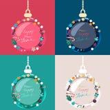 Ensemble de babioles décorées colorées de Noël Photographie stock