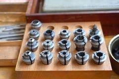 Ensemble de bagues de différents diamètres pour le fonctionnement en métal photo stock