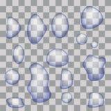Ensemble de baisses transparentes de l'eau Photos stock
